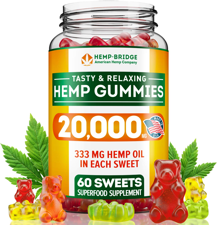 Hemp Gummies 20000MG - Premium Hemp Gummy Bears for Stress & Anxiety Relief - Made in USA - Hemp Extract Natural Calm Gummies - Efficient with Inflammation, Stress & Sleep Issues - Omega 3 Gummies by HEMPBRIDGE