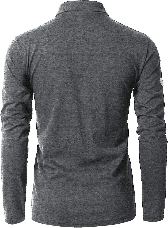 STTLZMC Polo Manica Lunga da Uomo Tennis T-Shirt Gentiluomo Ricamo Tops