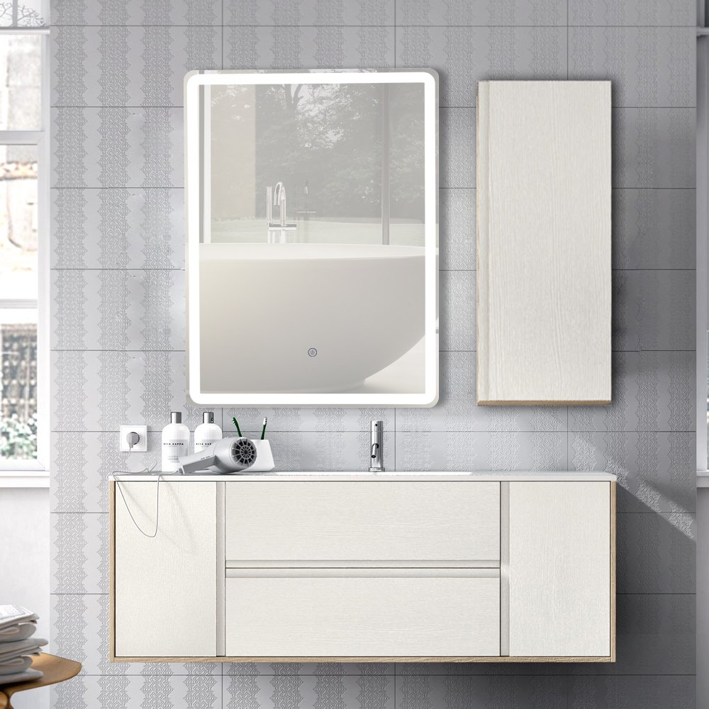 GURUN Vertical LED Wall Mounted Lighted Bathroom Mirror with Touch Button,Dimmer and Defogger | Wall Mount Vertical or Horizontal Installation | 17005((31.5'' x 24'')