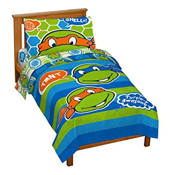 nickelodeon teenage mutant ninja turtles turtley awesome toddler bed set - Ninja Turtles Toddler Bedding Set
