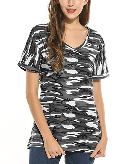 1701184f Kancystore Women's Baggy Fit Short Sleeve V Neck Turn Up Tunic Tops  Camouflage Loose Basic T