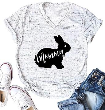 ca97baff0 Amazon.com: Easter Mommy Bunny Shirt Cute Mama Rabbit Graphic Tees Women V- Neck Letter Print Short Sleeve T-Shirt Tops: Clothing