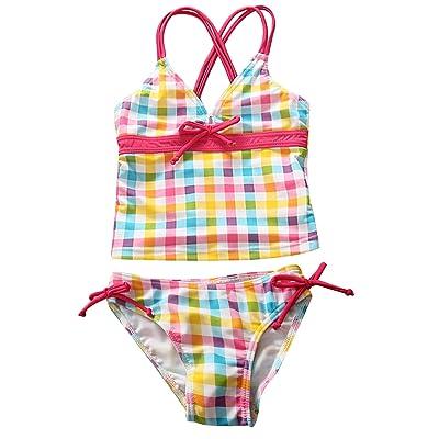 AoMoon Girls' Daisy Halter Lattice Tankini Beach Sport 2 Pieces Swimsuit Bikini