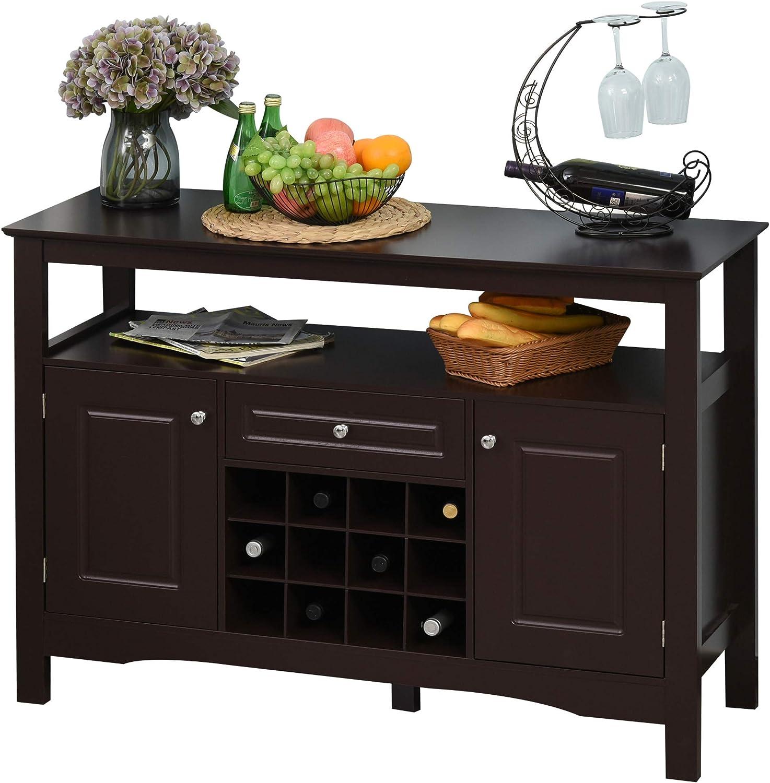 HOMCOM Modern Kitchen Buffet Bar Cabinet Storage with Drawer and 12-Bottle Wine Rack for Living Room, Espresso