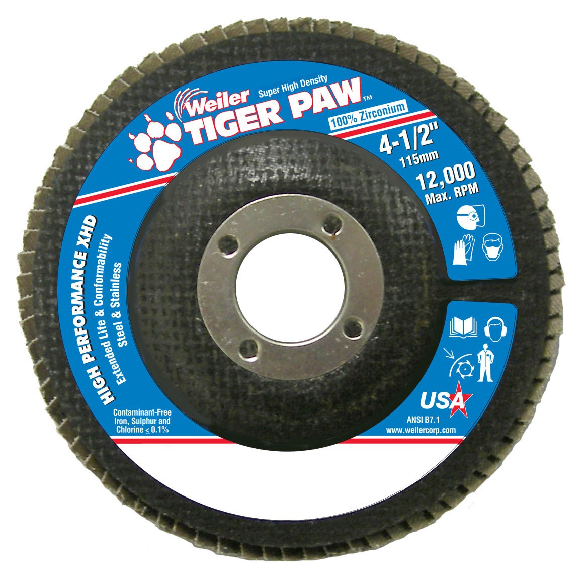 Weiler 51160 Tiger Paw XHD Super High Density Abrasive Flap Disc, Type 27 Flat Style, Phenolic Backing, Zirconia Alumina, 4-1/2'' Diameter, 7/8'' Arbor, 36 Grit, 12000 RPM (Pack of 10)