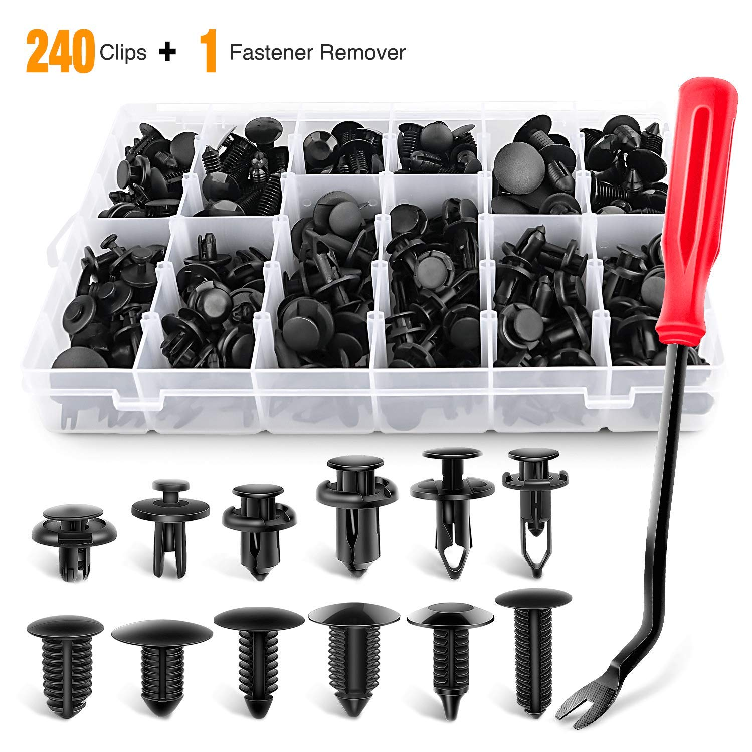 GOOACC GRC-33 240PCS Bumper Car Plastic Fasteners Retainer Kit Most Popular Sizes Auto Push Pin Rivets Set-Door Trim Panel Fender Clips for GM Ford Toyota Honda Chrysler
