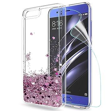 LeYi Funda Xiaomi Mi6 / Mi 6 Silicona Purpurina Carcasa con HD Protectores de Pantalla,Transparente Cristal Bumper Telefono Gel TPU Fundas Case Cover ...