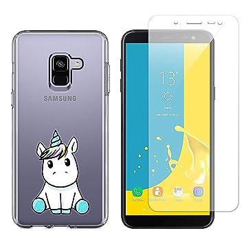 Funda Samsung Galaxy J6 2018 Lindo Unicornio Suave TPU Silicona Anti-rasguños Protector Trasero Carcasa para Samsung Galaxy J6 2018 con Un Protector ...