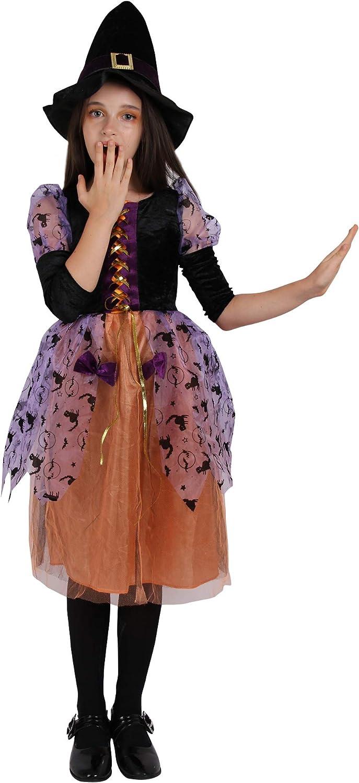 Amazon.com: Disfraz de bruja para niñas con diseño de reina ...