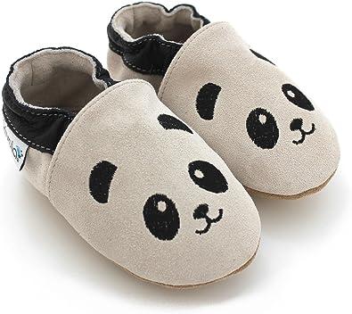Chaussons B/éb/é en cuir doux Panda 12//18 mois