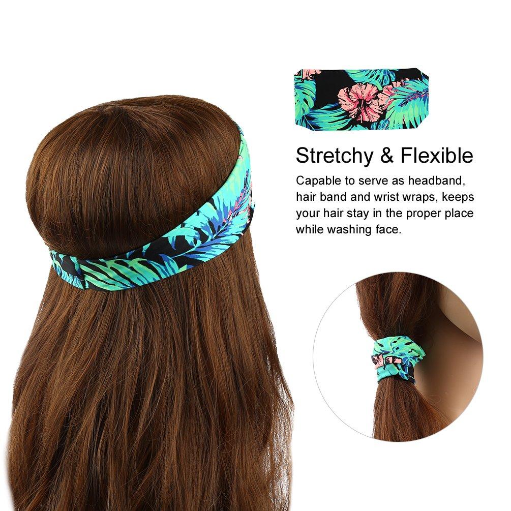 VBIGER Femme Bandeaux Elastique Cheveux Serre-tête absorbant l\'humidité Yoga Bandeau de Maquillage de sport avec une motif géométrique,6Pc