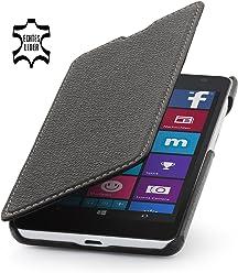 StilGut® Book Type Case senza clip, custodia in vera pelle a libro per Microsoft Lumia 535, nero