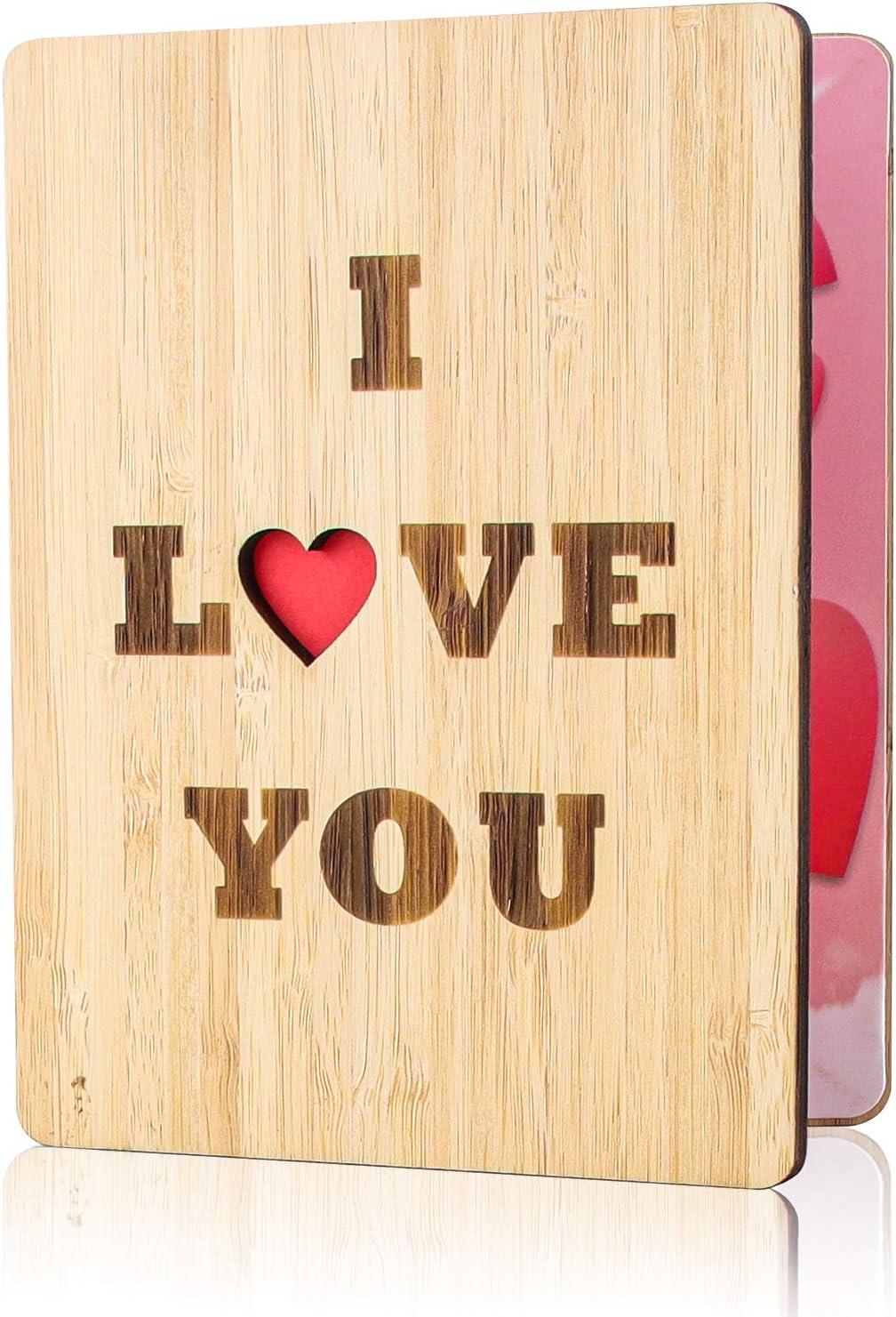 Tarjeta de Felicitación de Madera, Tarjeta de Felicitación, Tarjeta Felicitacion Hecha a Mano, con Sobres, las Mejores Ideas para Regalos para Cumpleaños, Bodas, san Valentín y Aniversarios (Amor)