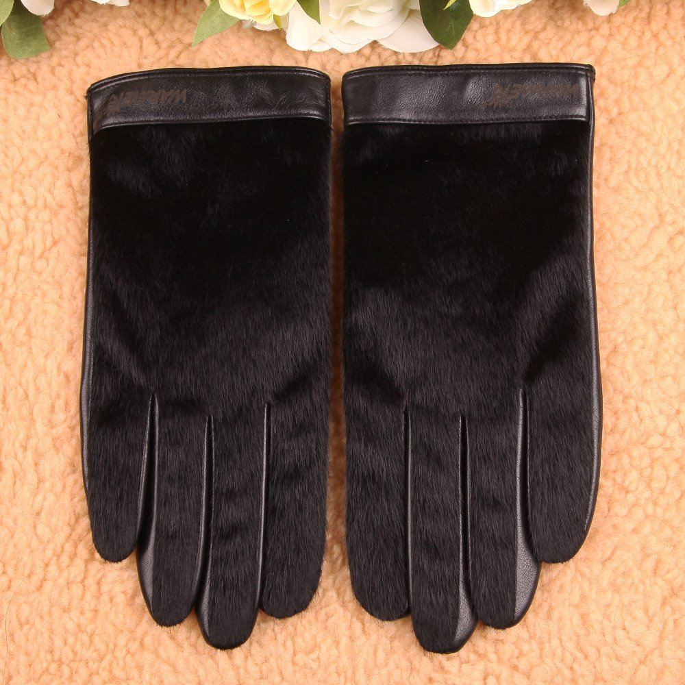 Mens Touchscreen Texting Nappa Leather Gloves with Faux Horsehair Hand Back