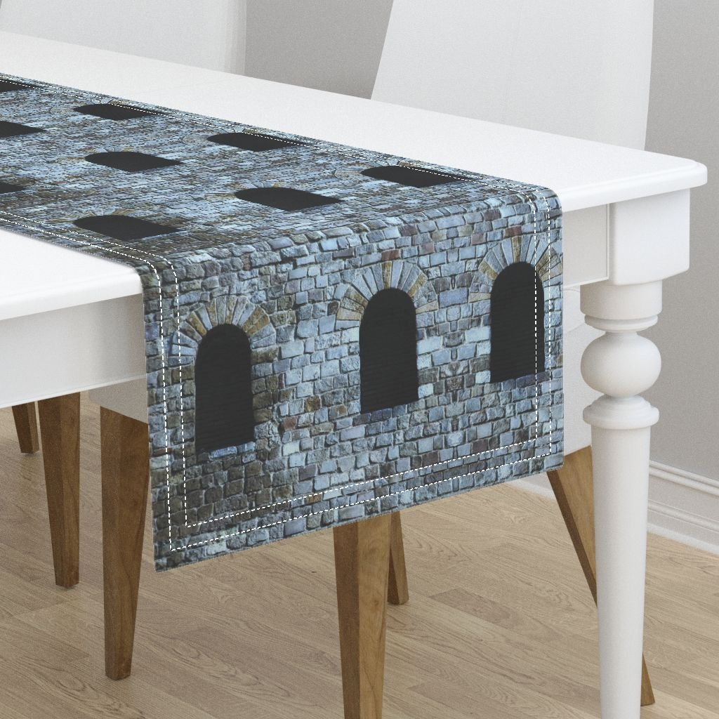 Table Runner - Castle Brick Stone Windows Architecture Medieval Building by Peacoquettedesigns - Cotton Sateen Table Runner 16 x 108