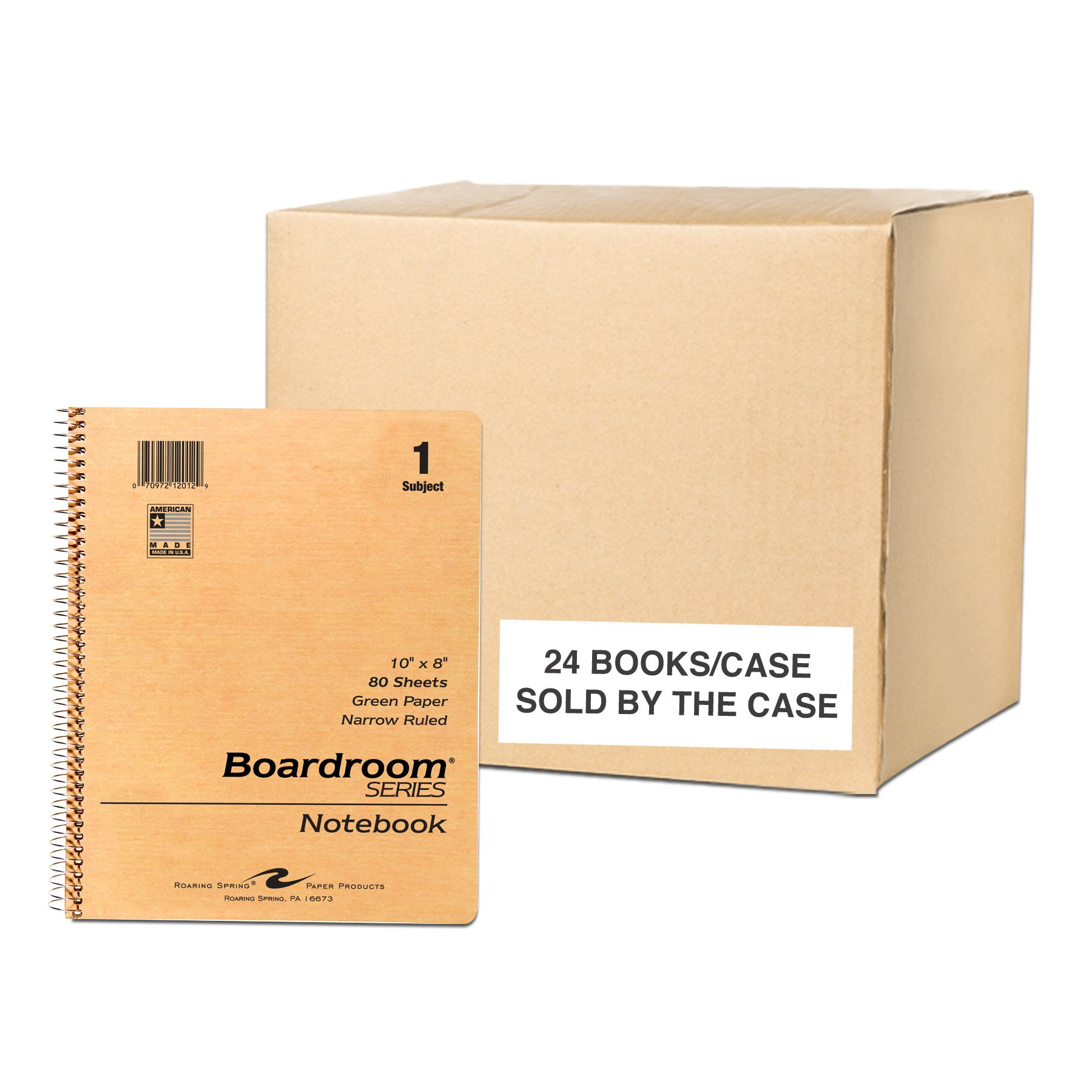 Case of 24 One Subject Wirebound Notebooks, 10''x8'', 80 sheets 15# Green Paper, Brown Kraft Covers, Narrow Ruled W/Margin