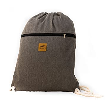79afedcb8b122b Lemur Bags Canvas Drawstring Backpack with Front Zipper Pocket - Large  19 quot  x 13""