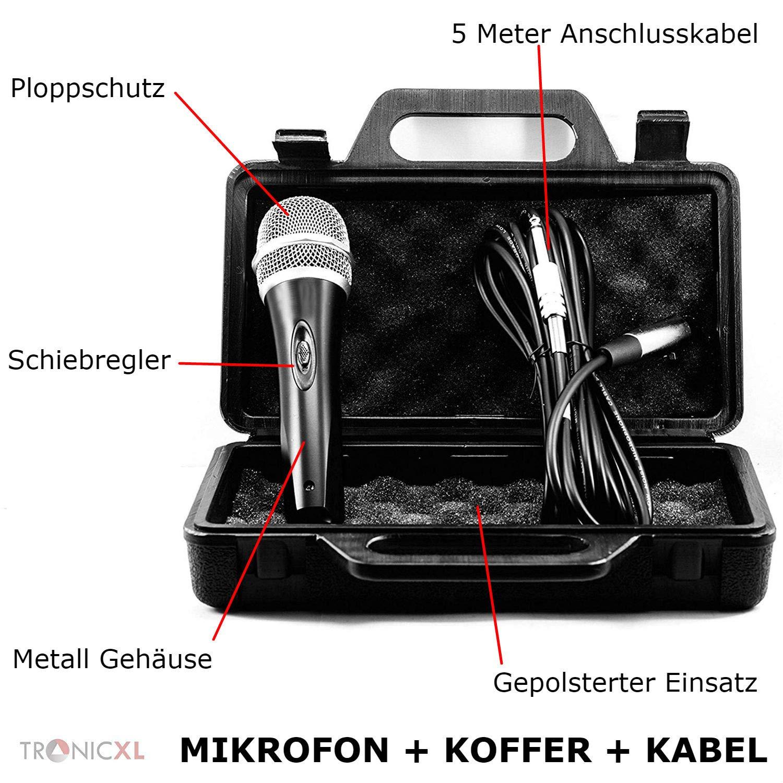 estuche Juego de micr/ófono din/ámico cable de 5 metros con conector jack de 6,35 mm TronicXL