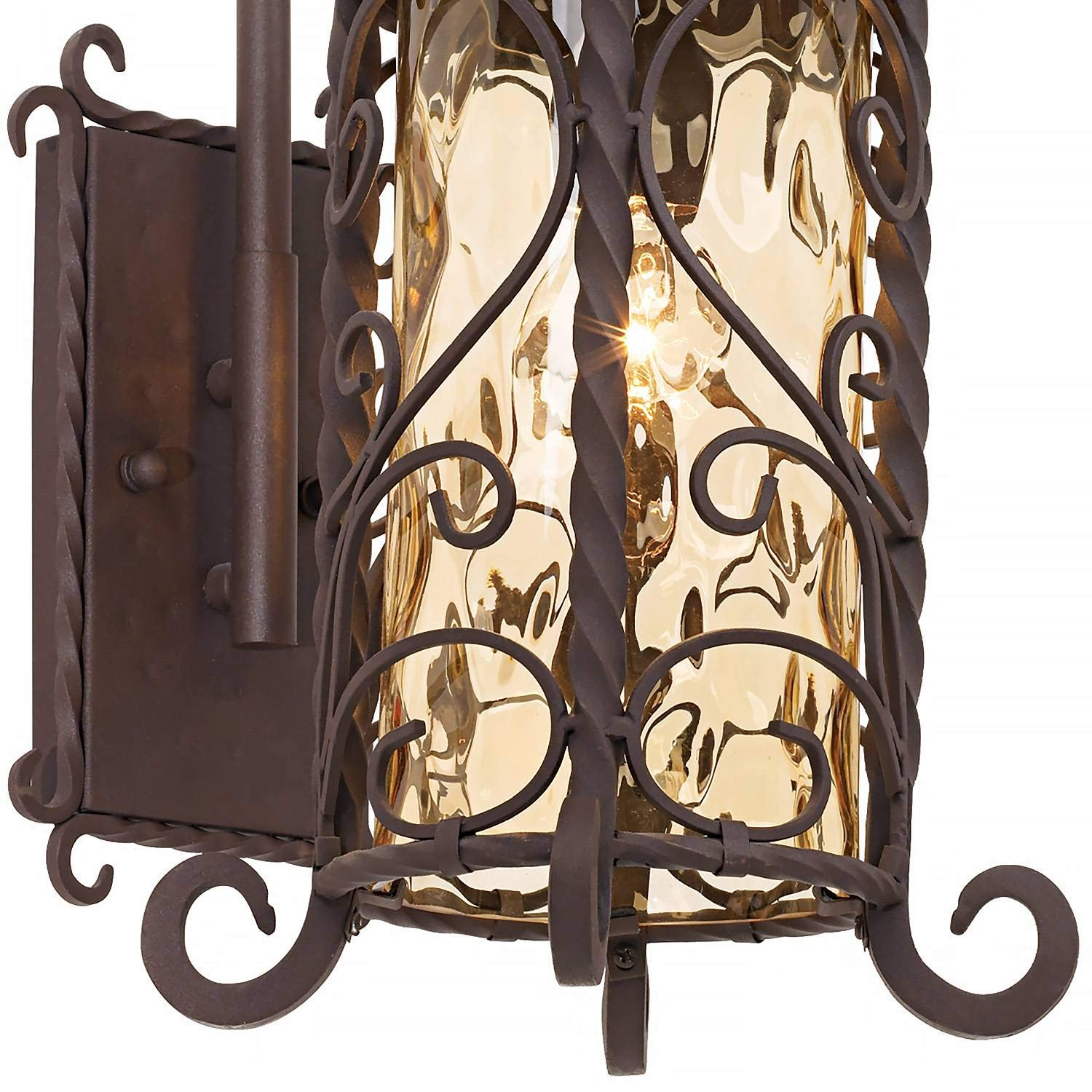 Casa Seville Rustic Outdoor Wall Light Fixture Mediterranean Inspired Dark Walnut Iron Twists 18 1/2'' Champagne Hammered Glass for Exterior House Porch Patio Deck - John Timberland by John Timberland (Image #4)