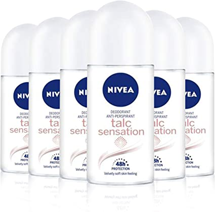 NIVEA Talc Sensation Roll-on en pack de 6 (6 x 50 ml), desodorante ...