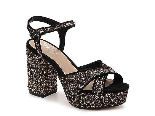 SHELLYS LONDON Womem's Annie Pewter Glitter Embellished Chunky Heel  Platform Sandal Pump ...