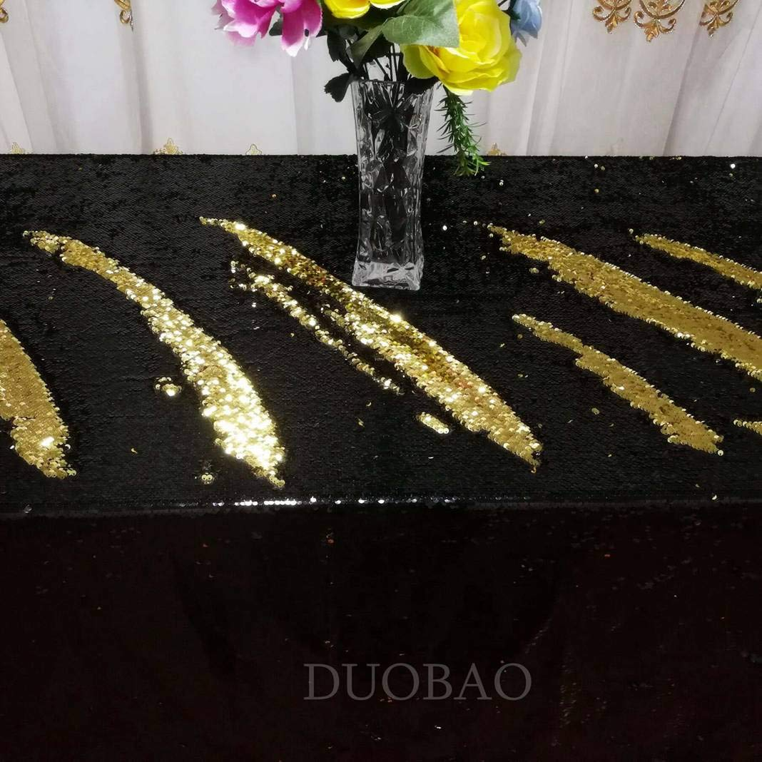DUOBAO Sequin Tablecloth 60x84-Inch Gold Mermaid Sequin Fabric Black to Gold Glitter Tablecloth Reversible tablecloths for Rectangle Tables~0516 by DUOBAO (Image #5)