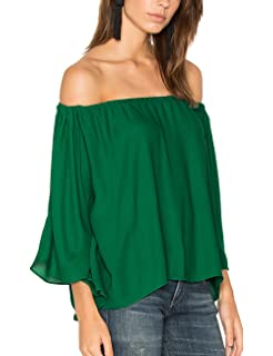 98bbc3d92f0646 ALLY-MAGIC Women s Chiffon Off Shoulder Tops Short Sleeves Shirts Casual  Strapless Blouses