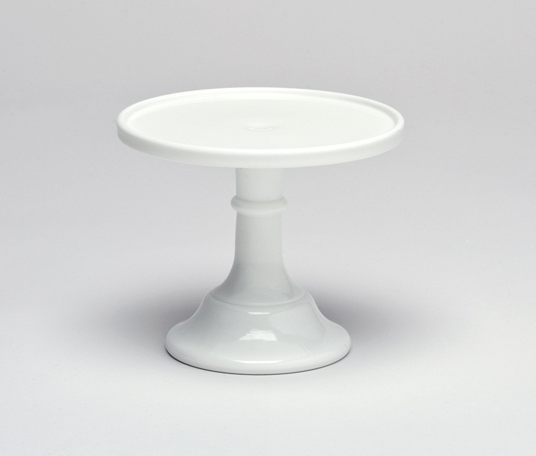 "Milk White 9"" Glass Cake Stand - By Mosser Glass"