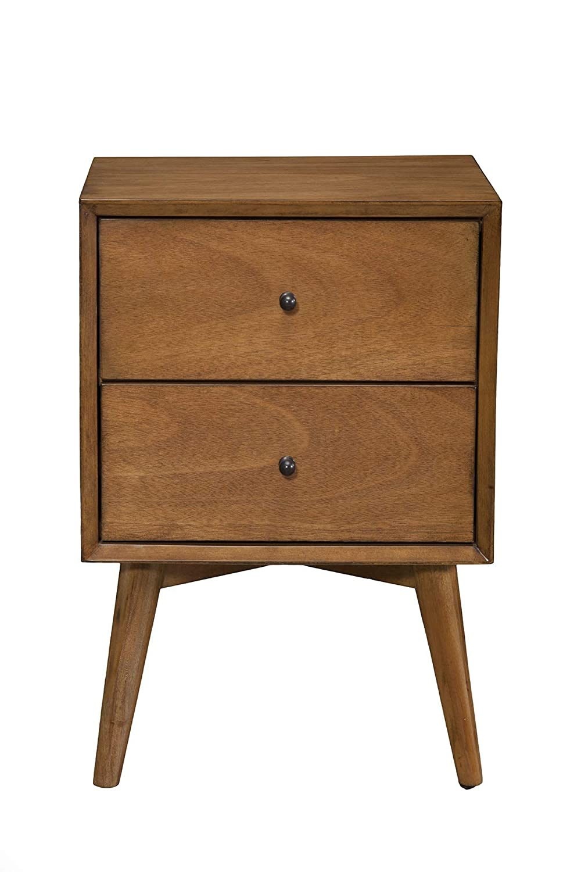 "Alpine Furniture 966-02 Flynn Mid Century Modern 2 Drawer Nightstand, 15"" L x 18"" W x 26"" H, Acorn"