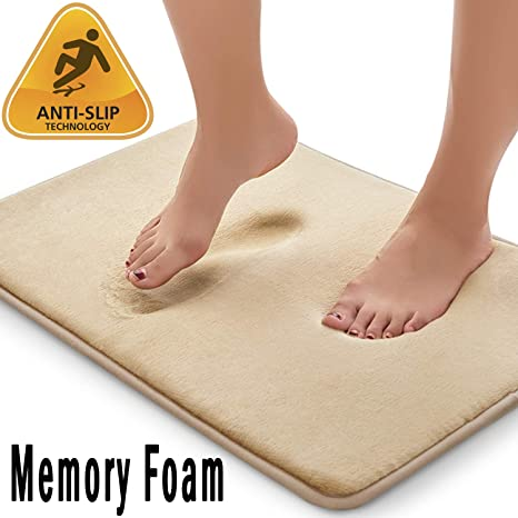 Memory Bath Mat Anti Slip Bath Rug Strong Absorbent Machine Washable Shower Rug
