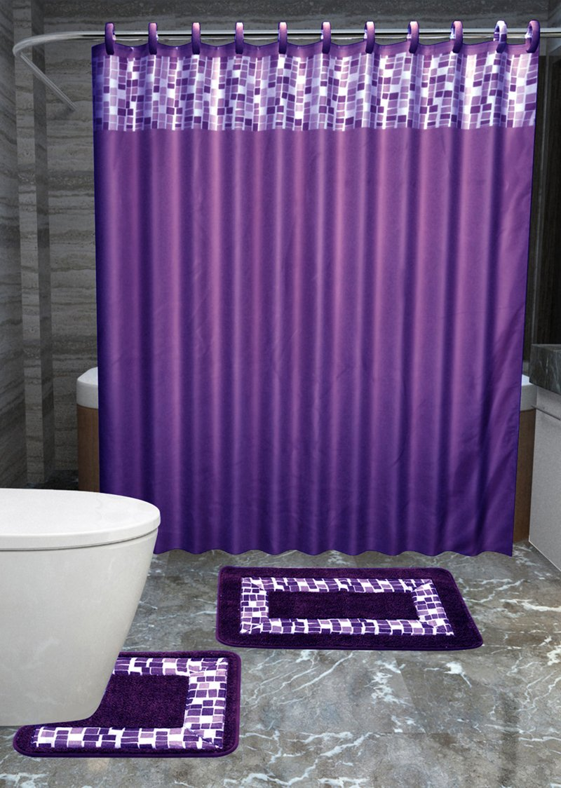 Gorgeous HomeDIFFERENT COLORS & DESIGNS 15PC BATHROOM BATH MATS SET RUG NON-SLIP CARPET SHOWER CURTAIN HOOKS (PURPLE MOSAIC)