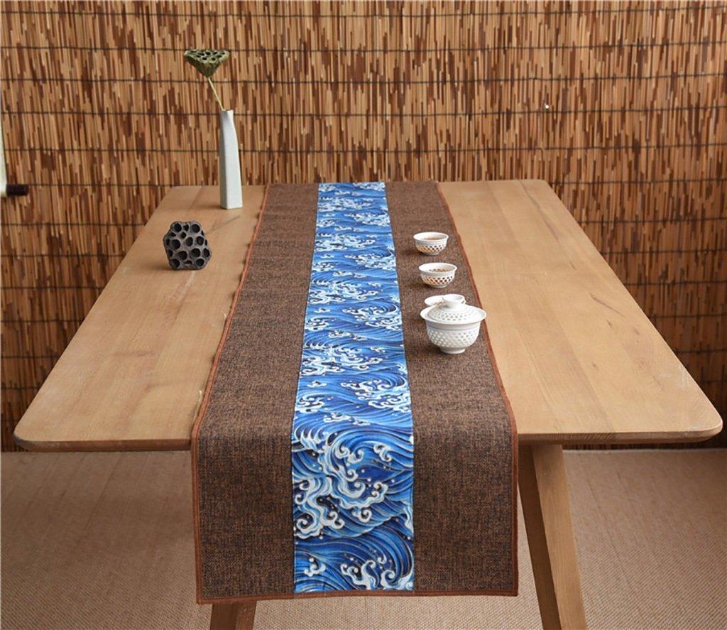 Unterschrift Baumwolle Tischläufer buddhistischen Stimmung Tee Tisch Kissen ethnischen Stil Tabelle Flagge Bett Läufer blaue Welle ( Farbe : Braun , größe : 35220cm )