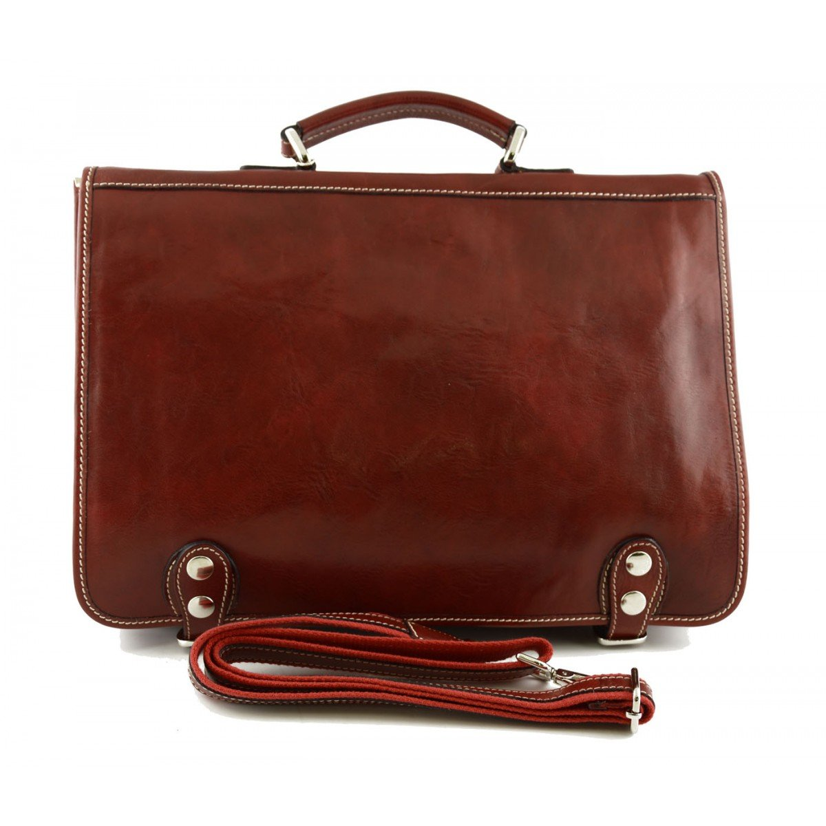 Made In Italy Business Briefcase In Genuine Leather With Inside Pockets Color Red - Business Bag B01NBIGPAM
