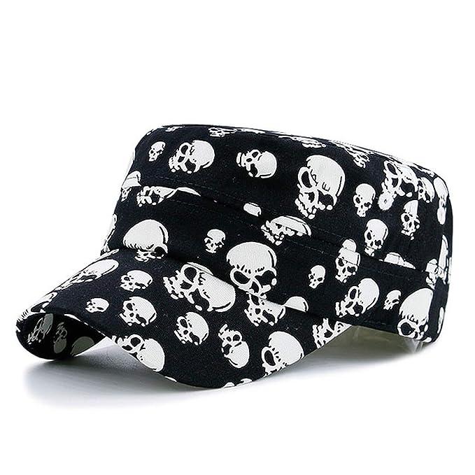 Amazon.com: Men Black Cool Skull Baseball Caps Women Cotton Casual Flat Hats Gorras Planas Snapback Adjustable Design Bone: Clothing