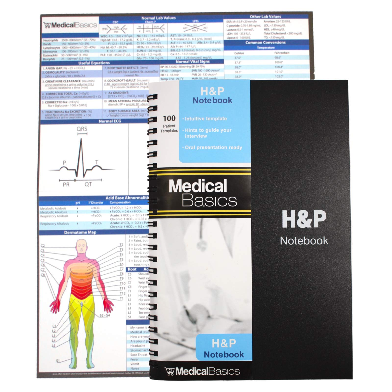 H&P notebook - Medical History and Physical notebook, 100 medical templates with perforations by Medical Basics