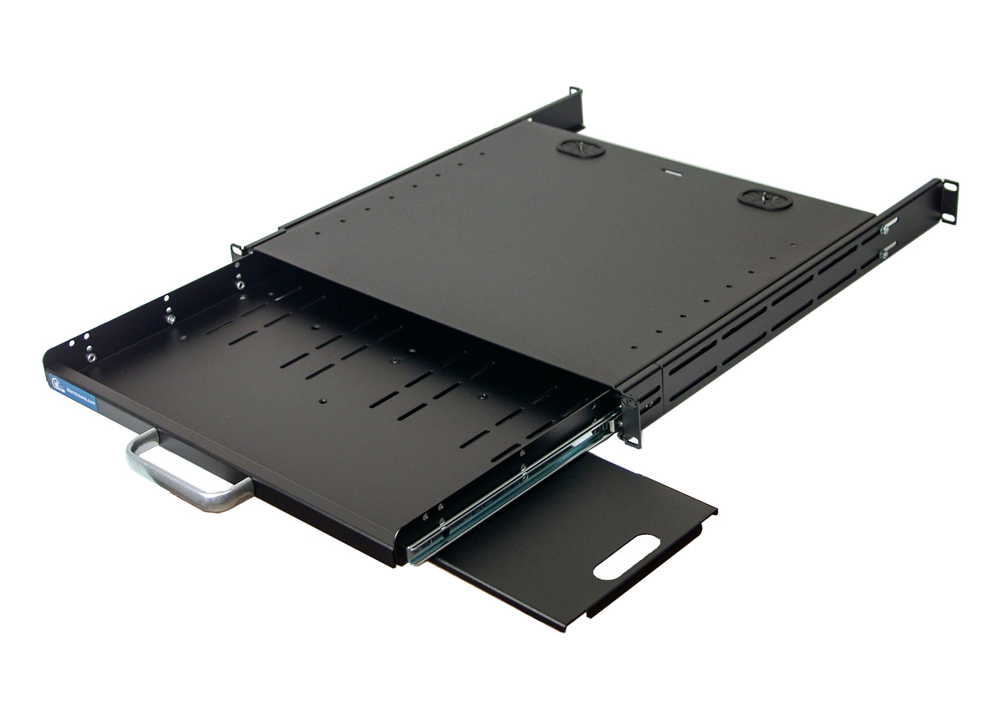 1U Compact rack mount keyboard drawer with retractable mouse pad for right or left hand operator supports 2 post and 4 post rack cabinet