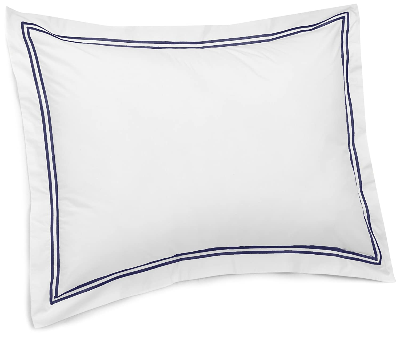 Pinzon 400-Thread-Count Egyptian Cotton Sateen Hotel Stitch Sham - European, Navy Blue