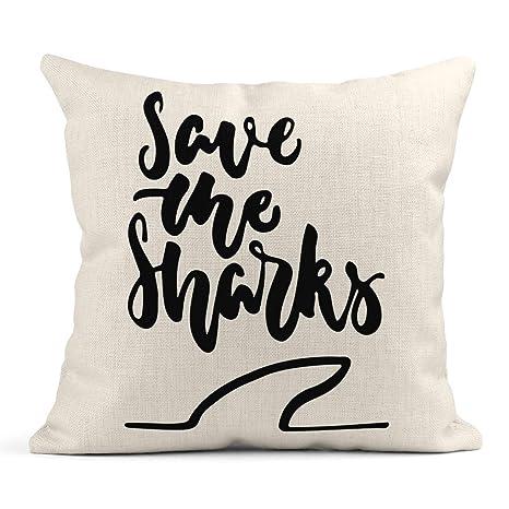 Cojín Animal Save The Sharks Frase de Letras Divertido ...