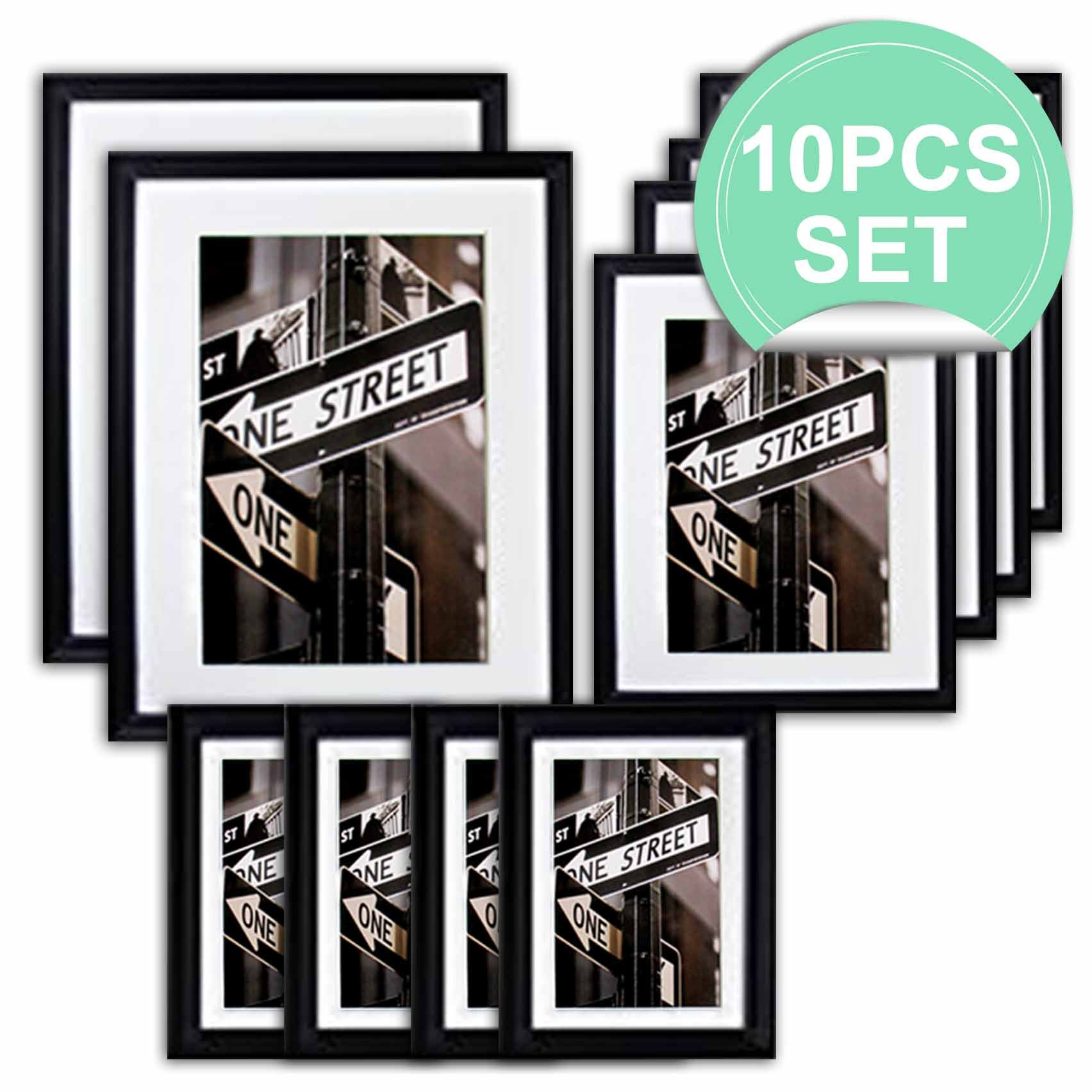 THE Display Guys 10 Piece Matte Black Solid Pine Wood Photo Frame Set, Two 11x14 Inch, Two 8x10 Inch, Six 5x7 Inch, With White Core Mat Boards And Picture Collage Mat Boards, Luxury Made Affordable by The Display Guys