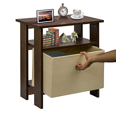 Klaxon Daisy Side Table with 1 Fabric Drawer Chest - Walnut & Cream