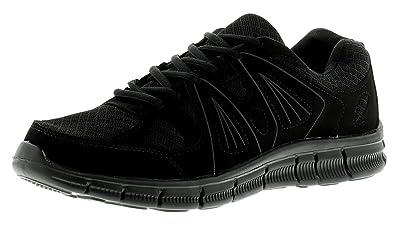 NUEVO Hombre / Negro Hombre Ligero Con Cordones Zapatillas- Negro/Negro - GB Tallas 7-11 - Negro/negro, 45