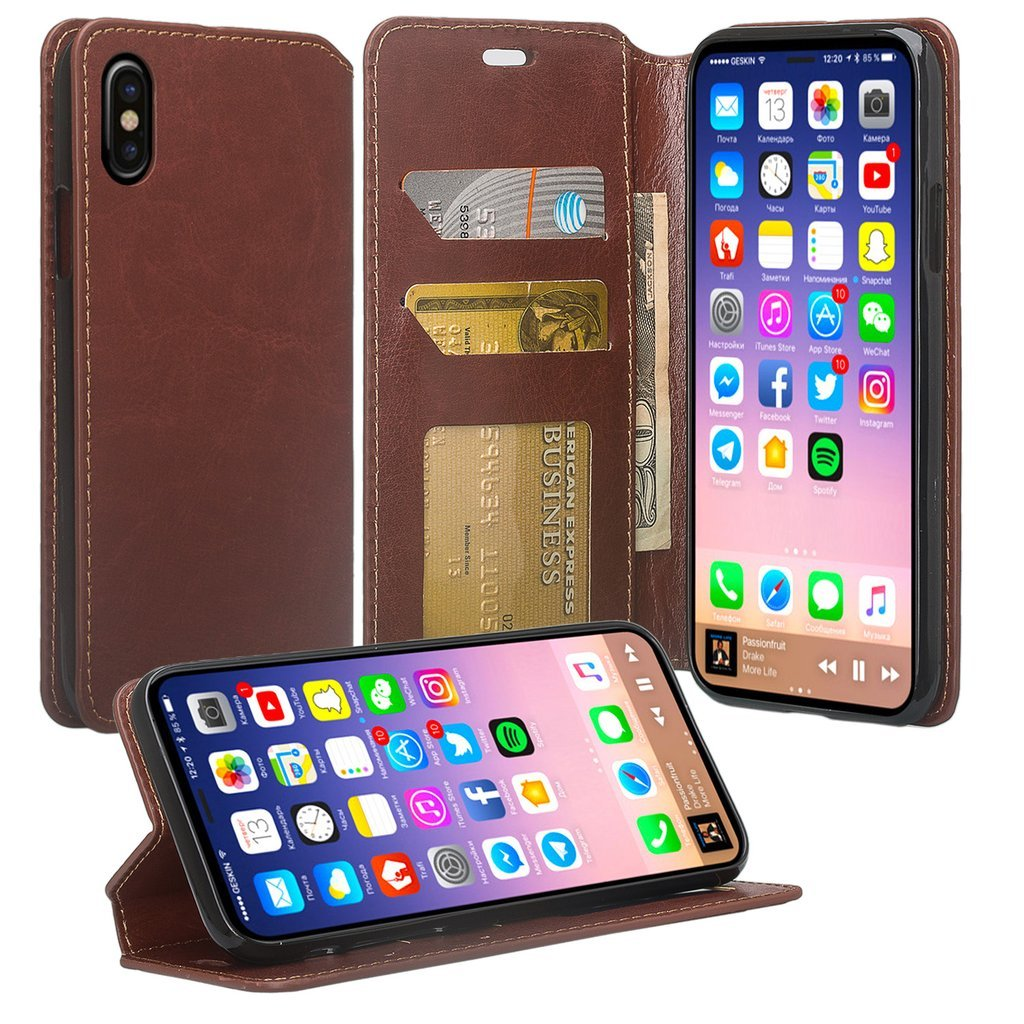 [Coverlab] Phone Case Compatible for AppleIphone X Case Protective Pu Leather Wallet Case Kickstand - Brown