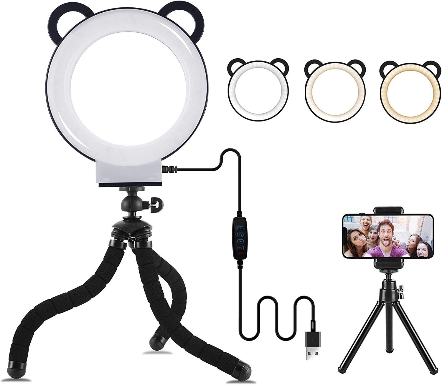 """Lusweimi LED Ring Light 6"""" with Tripod Stand for YouTube Video and Makeup, Mini LED Camera Light with Cell Phone Holder Desktop Lamp with 3 Light Modes & 11 Brightness Level (Black)"""