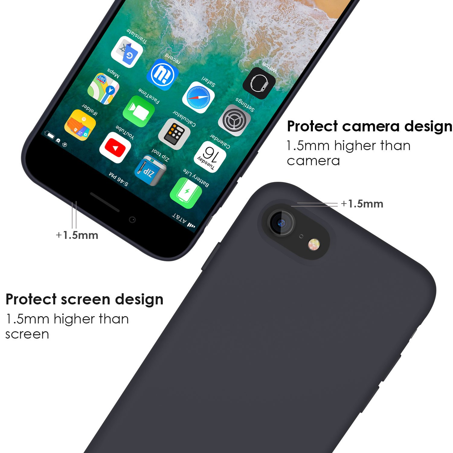 iPhone 8 Case, iPhone 7 Case, Jasbon Liquid Silicone Phone Case with Free Screen Protector Gel Rubber Shockproof Cover for Apple iPhone 7 iPhone 8-Black