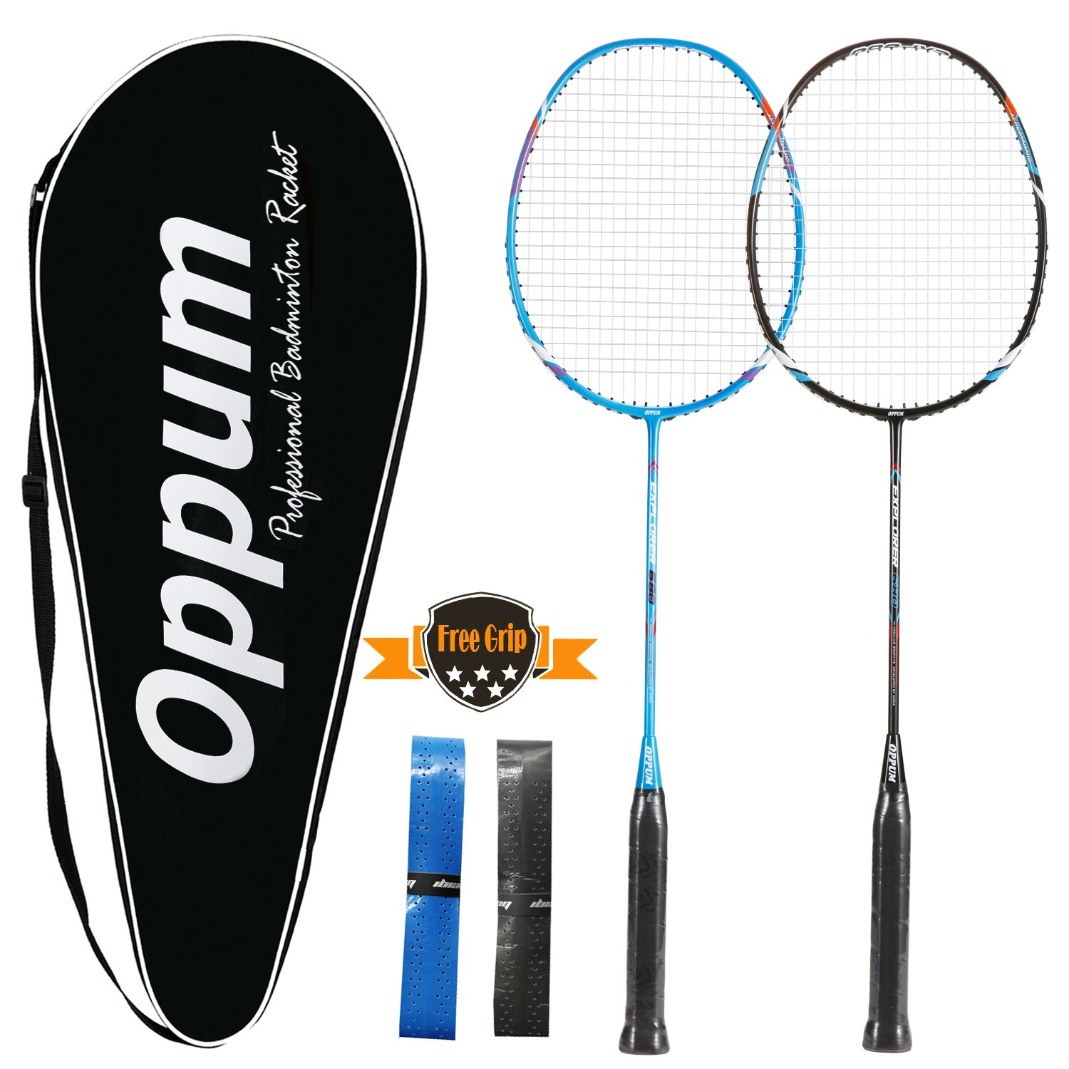 OPPUM 100% Full-Carbon Fiber Professional 2 Player Badminton Racquets Set Carbon-fiber Badminton Rackets Including 2 Rackets/1 Carrying Bag/2 Overgrips