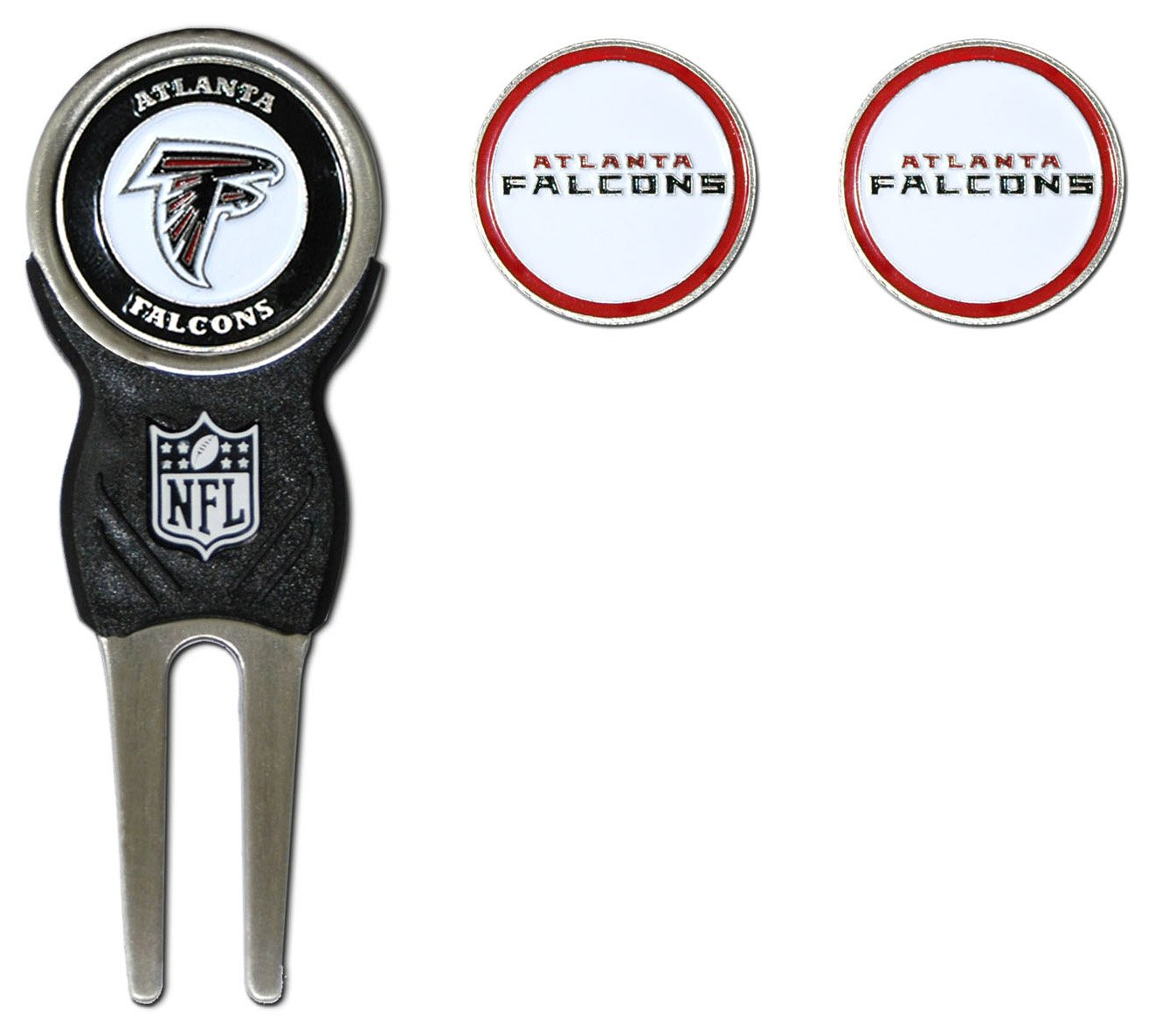 Team Golf NFL Atlanta Falcons Divot Tool with 3 Golf Ball Markers Pack, Markers are Removable Magnetic Double-Sided Enamel by Team Golf