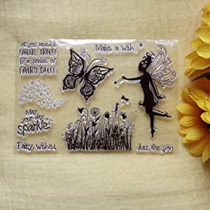 GAOZONGTER Butterfly Dandelion Angel Fairy Clear Stamps for Card Making and Scrapbooking Silicone Stamps Transparent Stamps Album Photo Decor