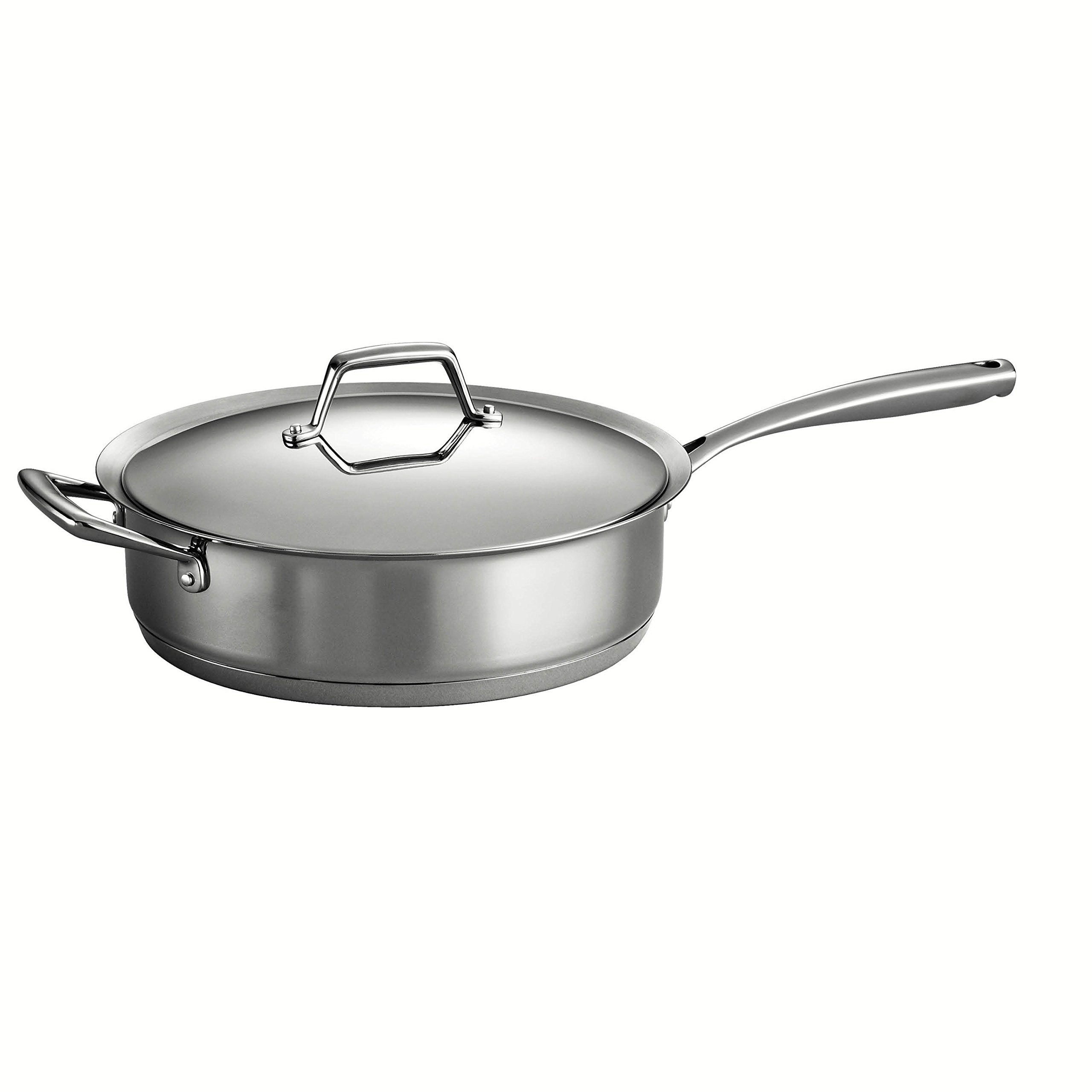 Tramontina Gourmet Prima 18/10 Stainless Steel Tri-Ply Base 5-Quart Covered Deep Saute Pan