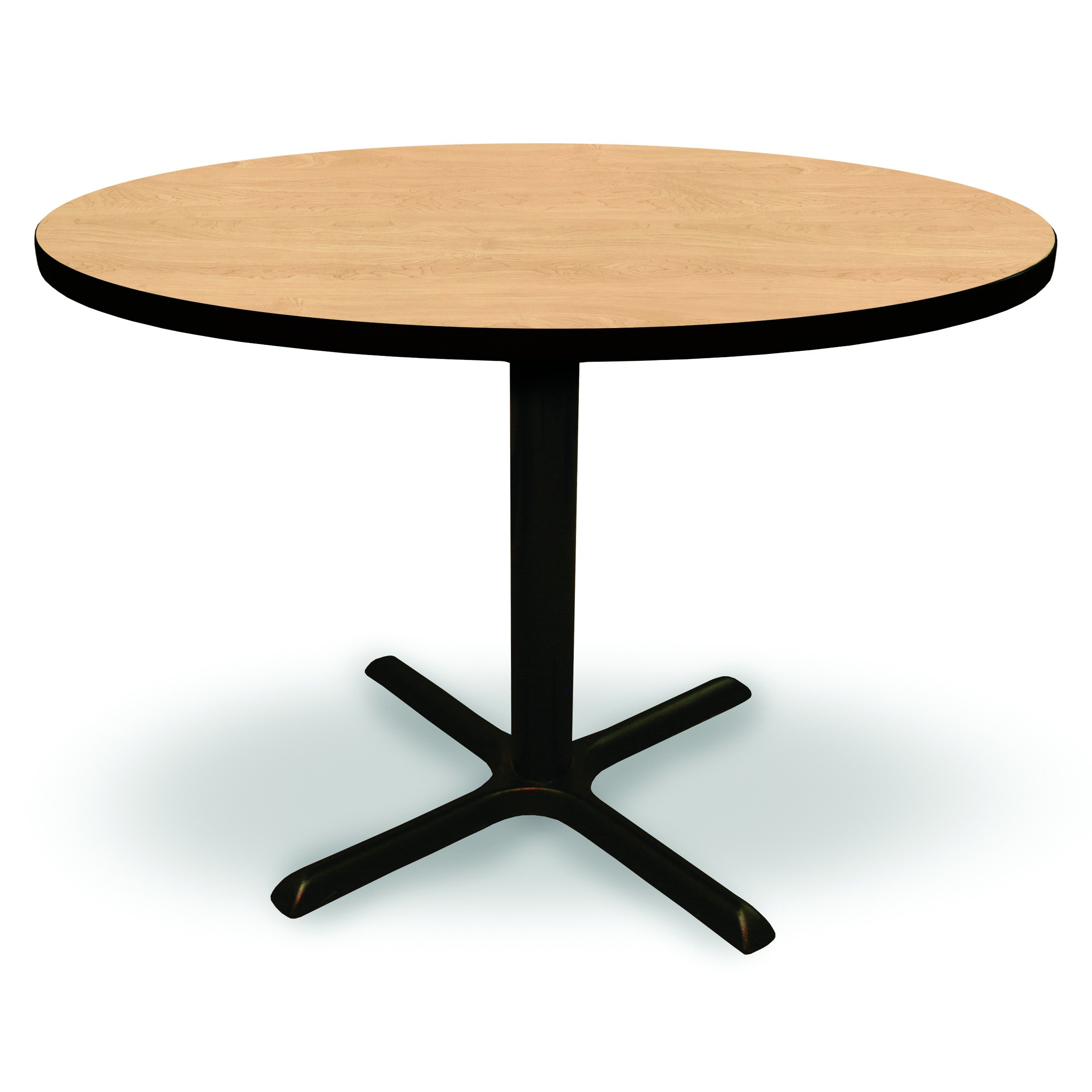 48'' Round Conference, Break Room, Multipurpose Table - Kensington Maple Laminate/Black Finish