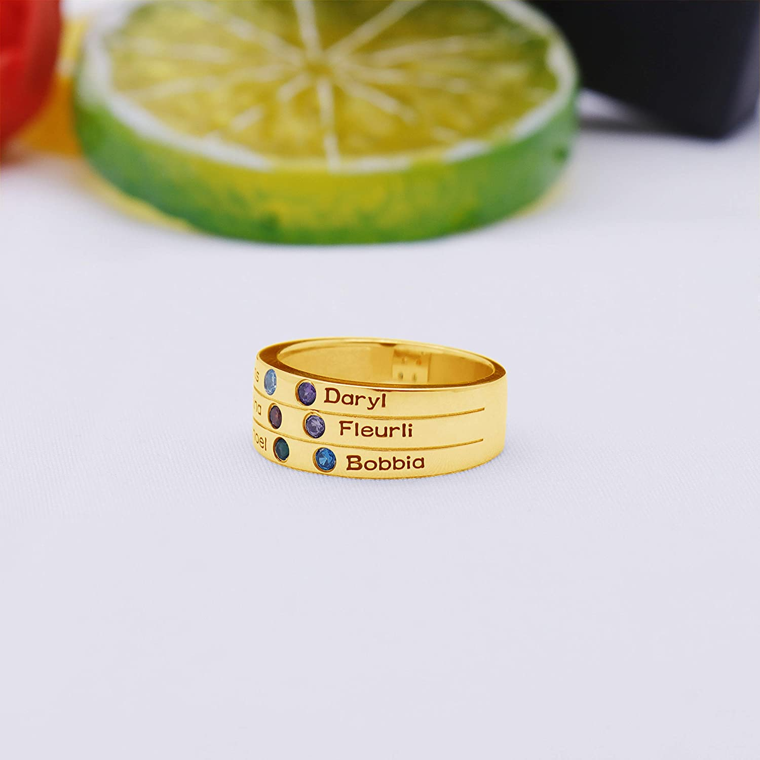 925 Sterling Silver Personalized /& Custom Made Mothers Ring Engraved Simulated Birthstone Ring 6 Name Ring
